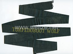 "Kriegsmarine Mützenband ""Torpedoboot Wolf"""