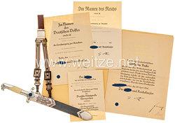 RAD Ehrendolch für Führer mit Damastklinge und Geschenkwidmung aus dem Besitz von Obergeneralarbeitsführer Wilhelm Busse.