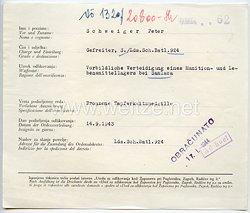 Datenblatt zur Verleihung der kroatischen Bronzenen Tapferkeitsmedaille