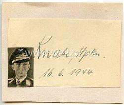 Luftwaffe - Originalunterschrift von Ritterkreuzträger Hauptmann Konrad Knabe