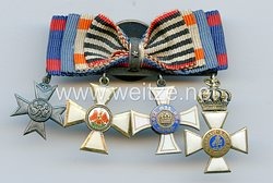 Knopflochdekoration mit 4 Auszeichnungen für einen Sanitätsoffizier im 1. Weltkrieg