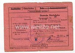 III. Reich - Dienstausweis Reichsbahn für eine Ukrainische Ostarbeiterin des Jahrgangs 1909