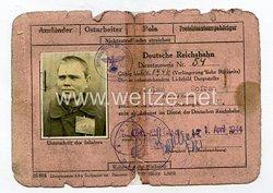 III. Reich - Dienstausweis Reichsbahn für einen Sowjetbürger und Ostarbeiter des Jahrgangs 1897