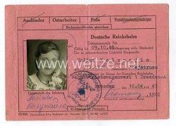 III. Reich - Dienstausweis Reichsbahn für eine Sowjetbürgerin und Ostarbeiterin des Jahrgangs 1926