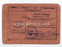 III. Reich - Dienstausweis Reichsbahn für einen Ostarbeiter des Jahrgangs 1925
