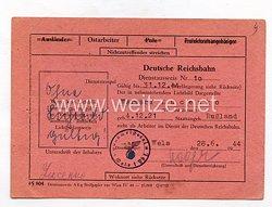 III. Reich - Dienstausweis Reichsbahn für eine Sowjetbürgerin und Ostarbeiterin des Jahrgangs 1921