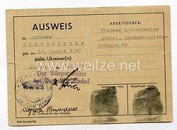 III. Reich - Ausweis für eine Polnische/Ukrainische Ostarbeiterin des Jahrgangs 1917