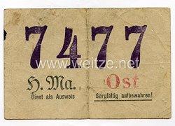 III. Reich - Vorläufiger Ausweis der Heeresmunitionsanstalt Güstrow für eine Ostarbeiterin des Jahrgangs 1919