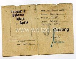III. Reich - Ausweis für eine Ostarbeiterin des Jahrgangs 1923