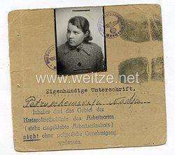 III. Reich - Ausweis für eine Ostarbeiterin in München