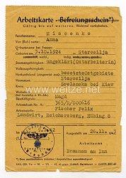 III. Reich - Arbeitskarte für eine Ukrainische Ostarbeiterin des Jahrgangs 1924