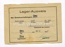 III. Reich - Lager - Ausweis für eine Ostarbeiterin