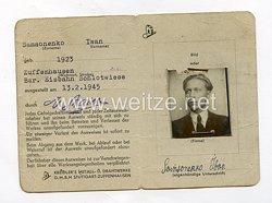 III. Reich - Personal - Ausweis für einen Ukrainischen Ostarbeiter des Jahrgangs1923