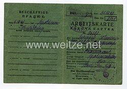 III. Reich - Arbeitskarte für einen Ukrainischen Arbeiter des Jahrgang 1902