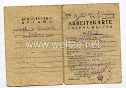 III. Reich - Arbeitskarte für eine Ukrainische Arbeiterin des Jahrgang 1911