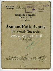 Weimarer Republik - Memelgebiet Personalausweis der Stadt