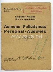 Weimarer Republik - Memelgebiet Personalausweis Stadt der