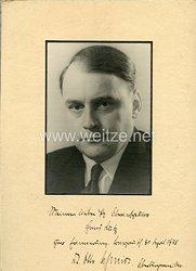 III. Reich - großes Foto mit eigenhändiger Widmung von Dr. Otto Schmidt, Oberbürgermeister der Gauhauptstadt Bayreuth