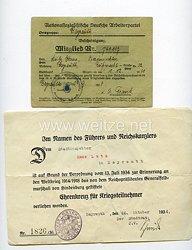 NSDAP - Ortsgruppe Bayreuth - Bescheinigung über Abgabe der Mitgliedskarte zwecks Ausstellung eines Mitgliedsbuches