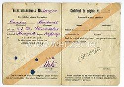 III. Reich - Volkstumausweis ( Volksdeutscher ) für eine Mann des Jahrgangs 1926 aus dem Gebiet Dnipropetrowsk( Ukraine )