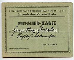 Weimarer Republik Reichverband der Eisenbahn Vereine E.V Eisenbahn - Verein KölnMitgliedskarte