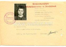 III. Reich - Ausweiskarte des WeißruthenischesSelbsthilfekomitee in Deutschland für eine Frau des Jahrgangs 1920