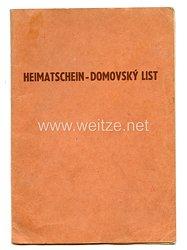 III. Reich - Böhmen und Mähren Heimatschein für eine Frau des Jahrgangs 1910