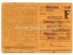 III. Reich - Meldekarte Arbeitsamt Brest Litowsk für eine Frau des Jahrgangs 1911