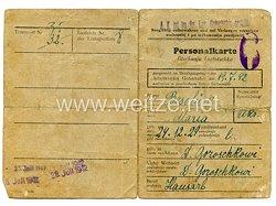 III. Reich - Personalkarte Arbeitsamt Gotenhafen für eine Frau des Jahrgangs 1924