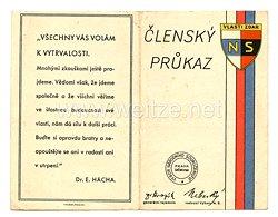 III. Reich - Tschecheslowakei - Narodni Sourucenstvi ( NS ) - Mitgliedsausweis für eine Frau des Jahrgangs 1912
