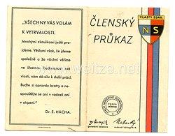 III. Reich - Tschecheslowakei - Narodni Sourucenstvi ( NS ) - Mitgliedsausweis für eine Frau des Jahrgangs 1886