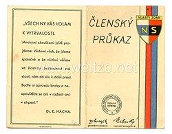 III. Reich - Tschecheslowakei - Narodni Sourucenstvi ( NS ) - Mitgliedsausweis für einen Mann des Jahrgangs 1902