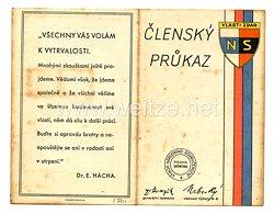 III. Reich - Tschecheslowakei - Narodni Sourucenstvi ( NS ) - Mitgliedsausweis für eine Frau des Jahrgangs 1902