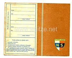 III. Reich - Tschecheslowakei - Narodni Sourucenstvi ( NS ) - Mitgliedsausweis für eine Frau des Jahrgangs 1911