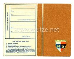 III. Reich - Tschecheslowakei - Narodni Sourucenstvi ( NS ) - Mitgliedsausweis für einen Mann des Jahrgangs 1880