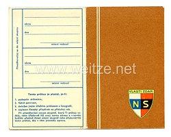 III. Reich - Tschecheslowakei - Narodni Sourucenstvi ( NS ) - Mitgliedsausweis für eine Frau des Jahrgangs 1883