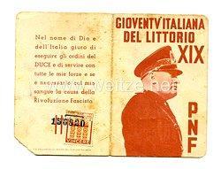 III. Reich - Italien - Partito Nazionale Fascista ( PNF ) - Mitgliedsausweis für einen Jungen des Jahrgangs 1928