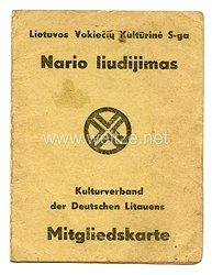 III. Reich Mitgliedskarte - Kulturverband der Deutschen Litauens