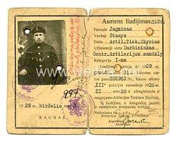 Lettland - Ausweis für einen Arbeiter bei der Artillerie - Schule Sandely
