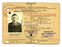 III. Reich - Deutsch - Kolej Wschodnia Personalausweisfür eine Mann