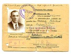 III. Reich - Deutsche Reichbahn - Dienstausweis für einen Polnischen Aushilfsarbeiter