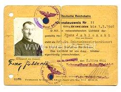 III. Reich - Deutsche Reichbahn - Dienstausweis für einen Arbeiter und Schrankenwärter in Kulm Westpreussen