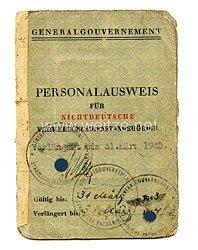 III. Reich - Generalgouvernement - Personalausweis für nicht deutsche Verwaltungsdienstangehörige