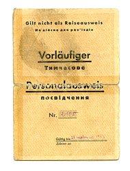 III. Reich / Ukraine - Bürgermeister der Stadt Uljanowka - Vorläufiger Personalausweis für eine Mann des Jahrgangs 1897