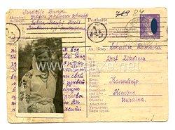 III. Reich - Postkarte einer Ukrainischen Ostarbeiterin