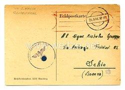 Italien 2. Weltkrieg R.S.I. ab 1943: Deutsche Feldpostkarte eines italienischen Soldaten