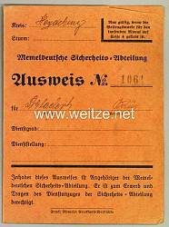 III. Reich - Memeldeutsche Sicherheits-Abteilung Kreis Heydekrug - Ausweis
