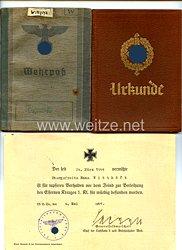 Luftwaffe - Dokumentengruppe für den späteren gefallenen Obergefreiten