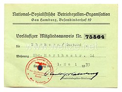 Nationalsozialistische Betriebszellen-Organisation ( NSBO ) - Gau Hamburg Besenbinderhof - Vorläufiger Mitgliedsausweis