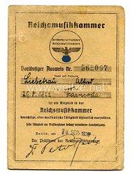 Reichsmusikkammer - Vorläufiger Ausweis zur Mitgliedschaft